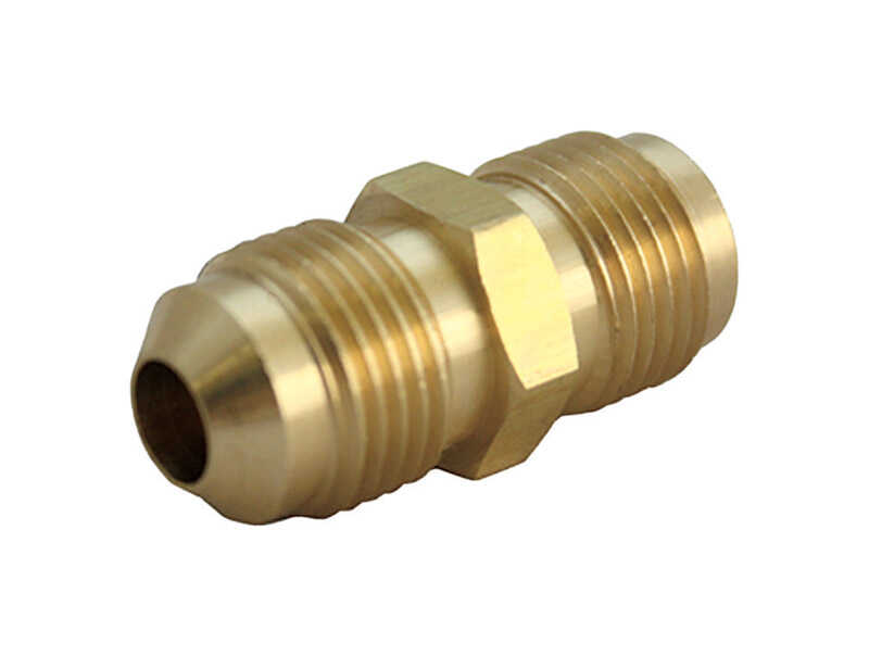 JMF  3/8 in. Dia. x 3/8 in. Dia. Flare To Flare To Flared  Yellow Brass  Union