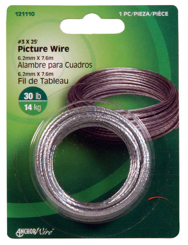 HILLMAN  AnchorWire  Steel-Plated  Silver  Braided  Picture Wire  30 lb. Steel  10 pk