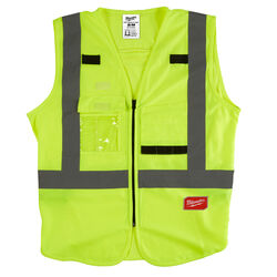 Milwaukee  Polyester  Safety Vest  High Visibility Yellow  L/XL