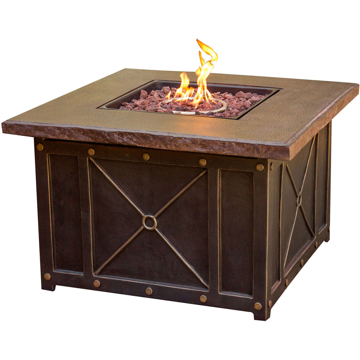 Hanover  Summer Nights  Propane  Fire Pit  23.62 in. H x 40 in. W x 40 in. D Aluminum