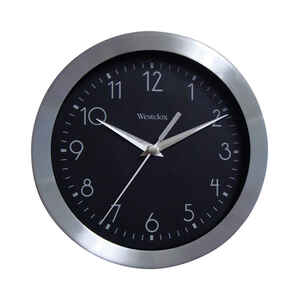 Westclox  9 in. L x 9 in. W Indoor  Analog  Wall Clock  Metal  Black