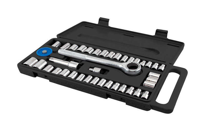 Great Neck  1/4 in.  SAE/Metric  6  Ratchet and Socket Set  40 pc.