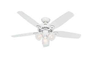 Hunter Fan  Builder Plus  52 in. 5 blade Indoor  Snow White  Ceiling Fan