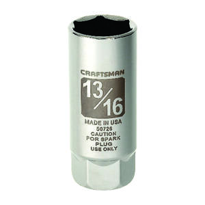 Craftsman  13/16 in.  x 3/8 in. drive  SAE  6 Point Standard  Spark Plug Socket  1 pc.