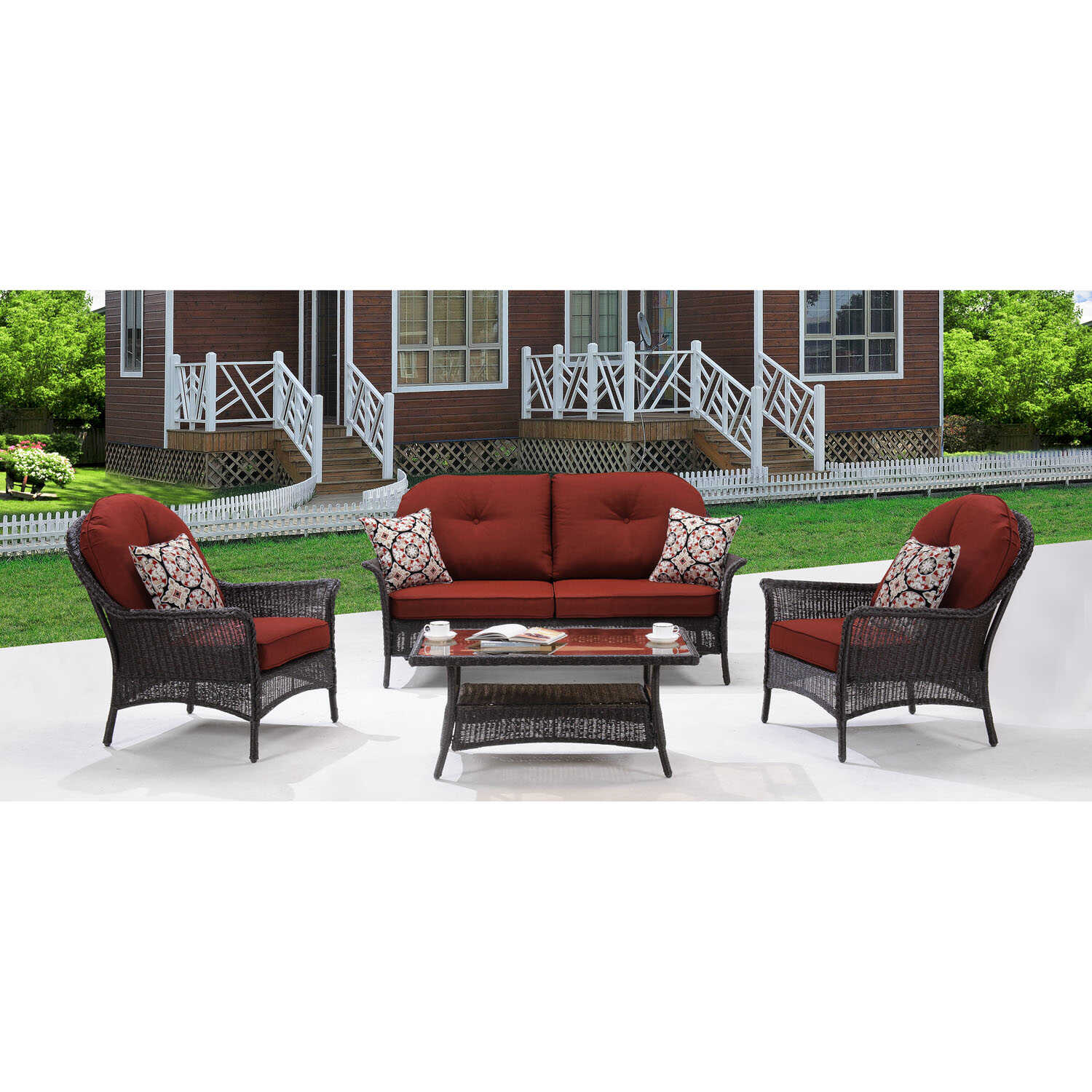 Hanover  San Marino  4 pc. Java  Steel  Patio Set  Red