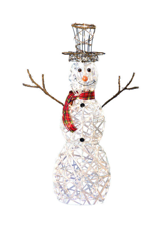Sienna  3D Wire Snowman  Lighted Shapes  Metal  White  1 pk
