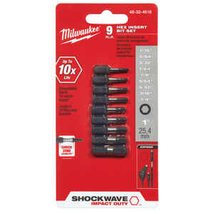 Milwaukee  SHOCKWAVE  Hex  Multi Size   x 1 in. L Impact Insert Bit Set  Steel  1/4 in. Hex Shank  9