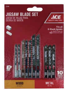 Ace  High Carbon Steel  Universal  Jig Saw Blade Set  10 pk