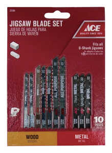 Ace  High Carbon Steel  Jig Saw Blade Set  10 pk Universal