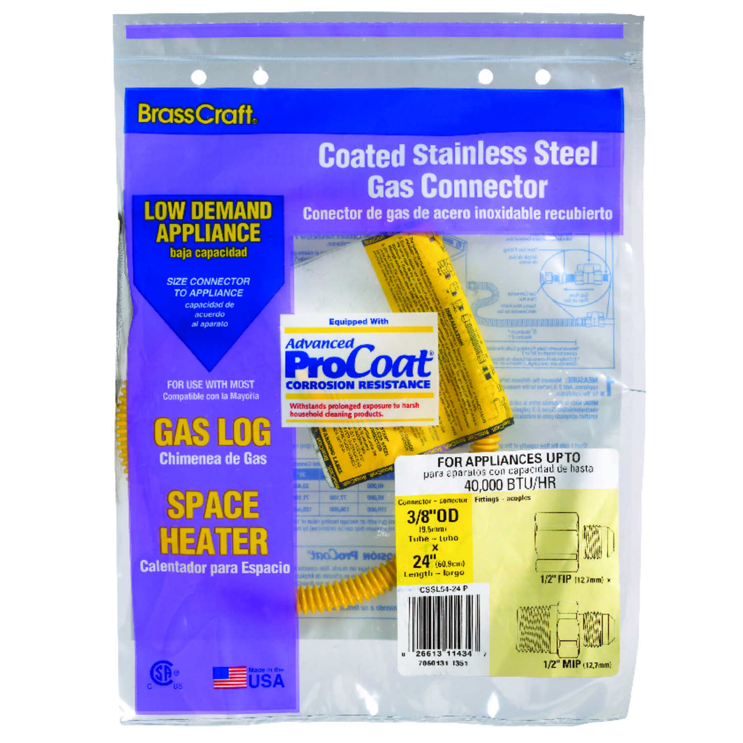 Brasscraft  ProCoat  1/2 in. FIP   x 1/2 in. Dia. MIP  24 in. Stainless Steel  Gas Connector