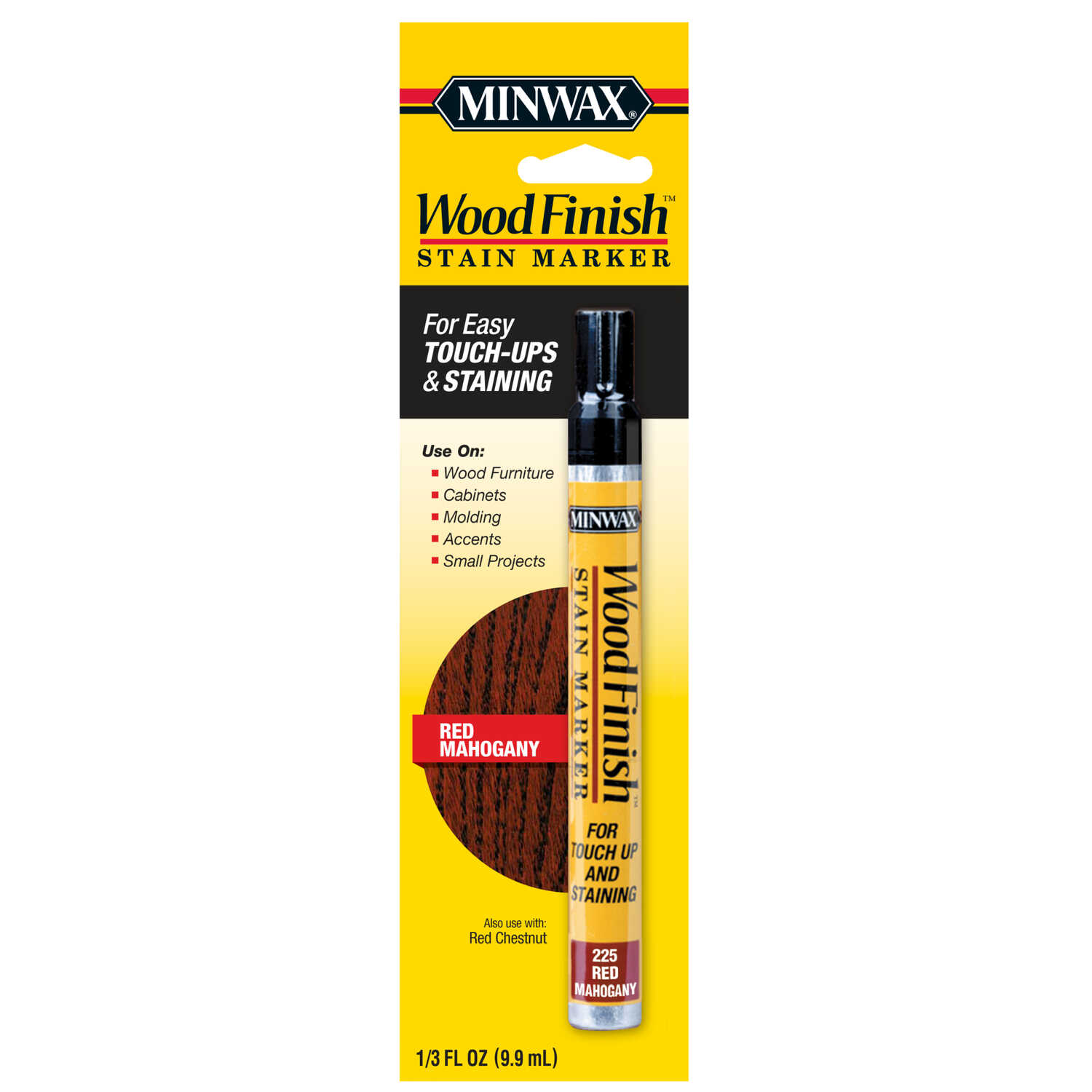 Minwax  Wood Finish  Semi-Transparent  Red Mahogany  Oil-Based  Stain Marker  0.33 oz.