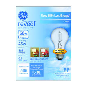 GE  Reveal  43 watts A19  A-Line  Halogen Bulb  565 lumens Soft White  2 pk