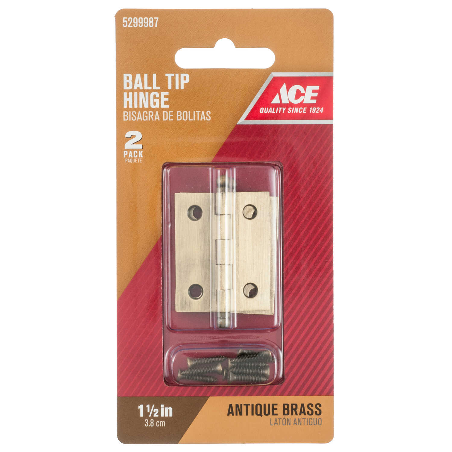 Ace  1-1/2 in. W x 1-1/4 in. L Antique Brass  Brass  Ball Tip Hinge  2 pk