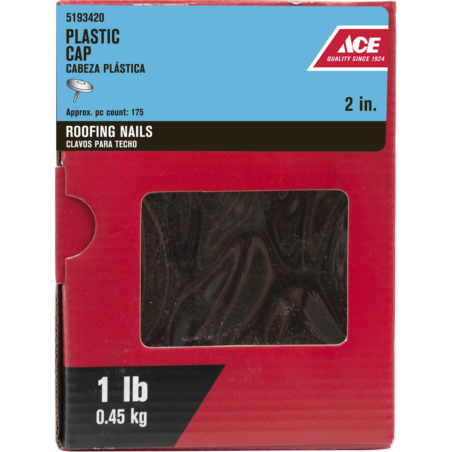Ace  2 in. L Roofing  Plastic/Steel  Nail  Flat Head Ring Shank  2000 pk 1 lb.