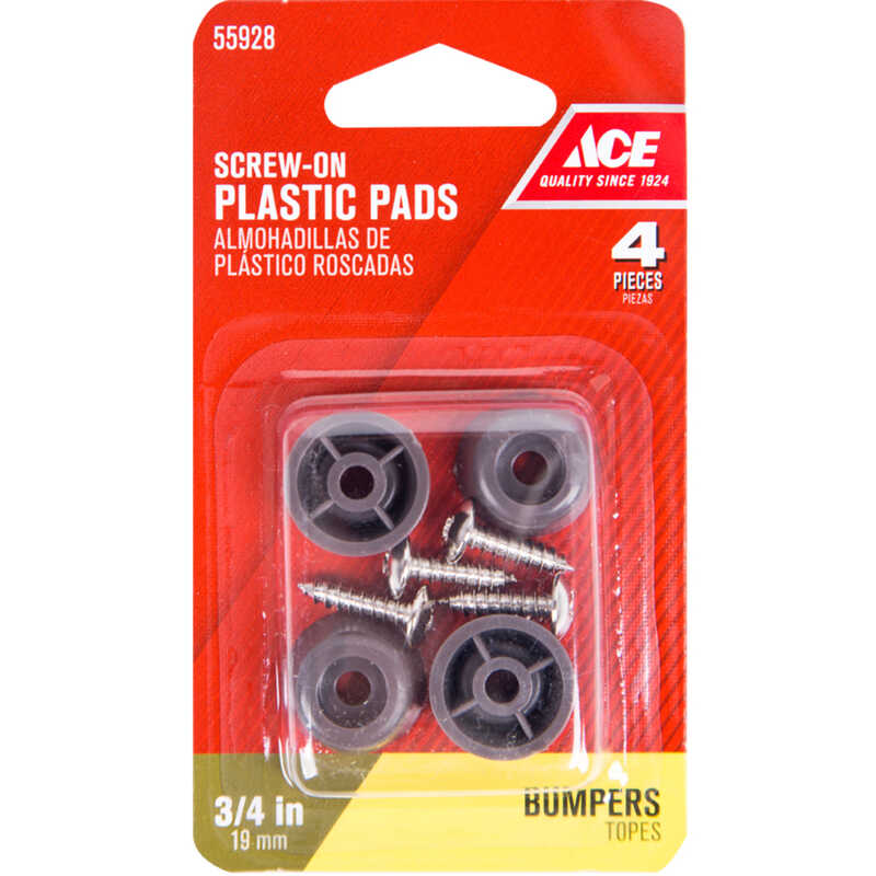 Ace  Plastic  Bumper Pads  Brown  Round  3/4 in. W 4 pk
