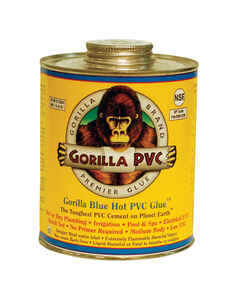 Gorilla PVC  Hot Glue / Blue Glue  Blue  Solvent Cement  For PVC 8 oz.