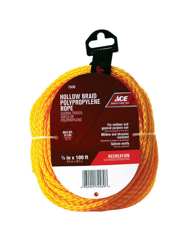 Ace  1/4 in. Dia. x 100 ft. L Gold  Braided  Poly  Rope