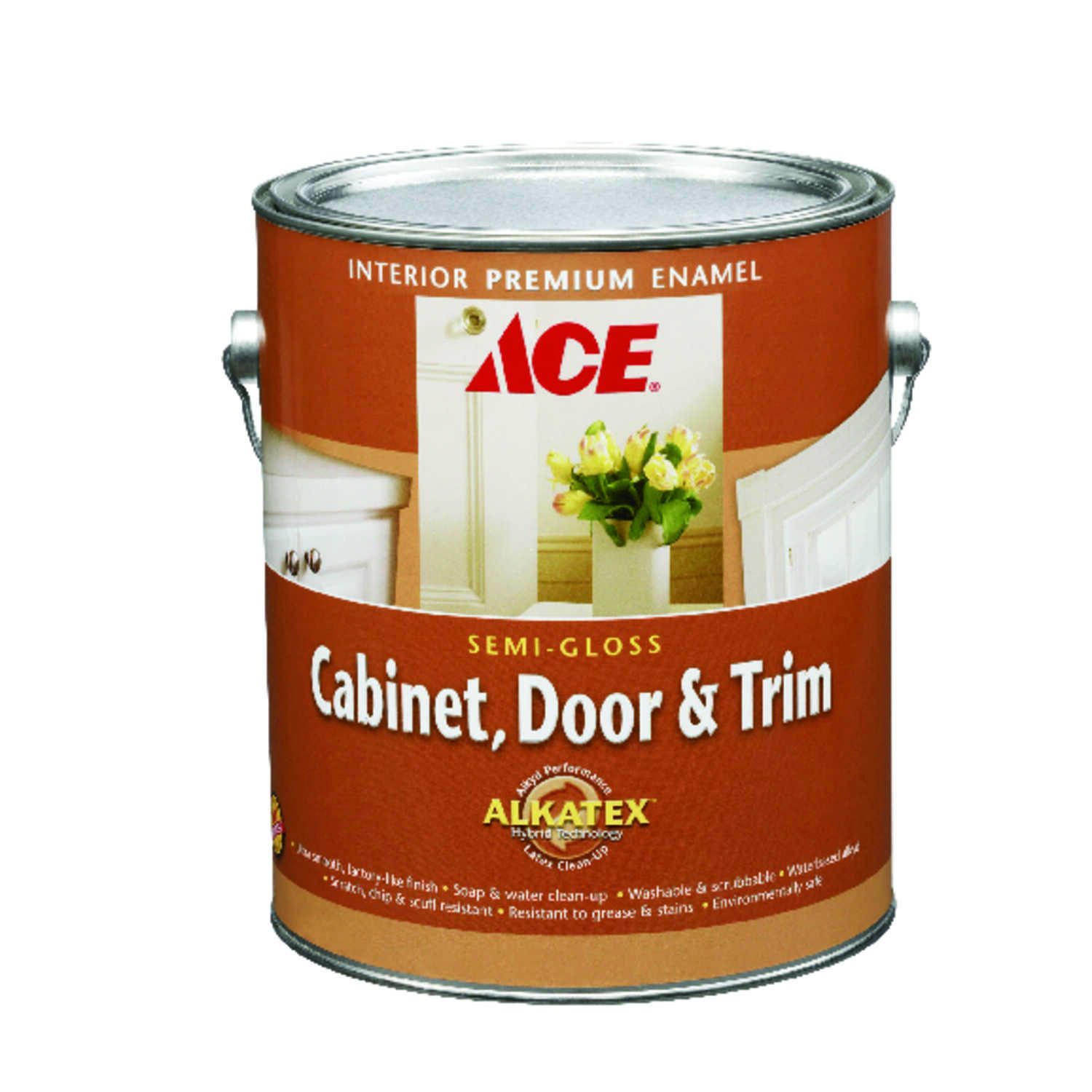 Ace Semi-Gloss White Ready-Mix Alkyd-Latex Hybrid Cabinet and Trim