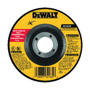 DeWalt  High Performance  4 in. Dia. x 5/8 in. in.  Aluminum Oxide  Cut-Off Wheel  1 pc.