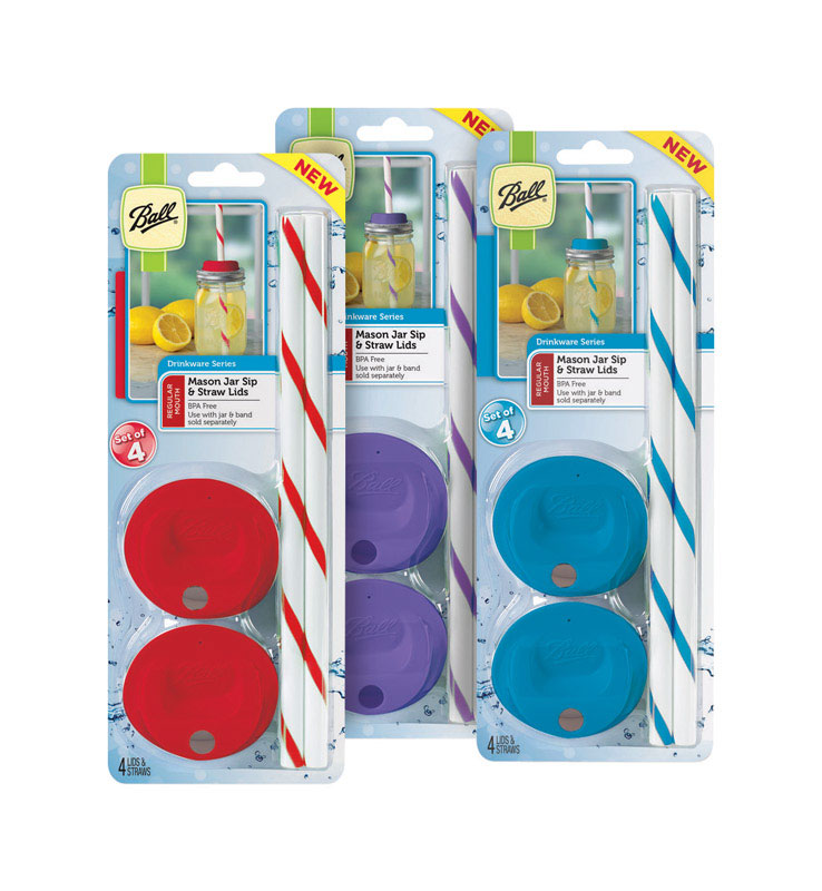 Ball  Regular Mouth  Sip and Straw Lid  4 pk