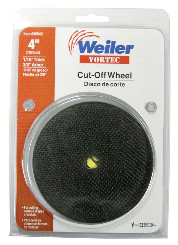Weiler  Vortec  Aluminum Oxide  4 in. Cut-Off Wheel  1/16 in.  x 3/8 in. in.  1 pc.