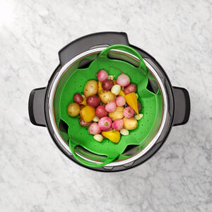 OXO  Good Grips  9-1/8 in. W x 13-5/16 in. L Green  Silicone  Steamer Basket