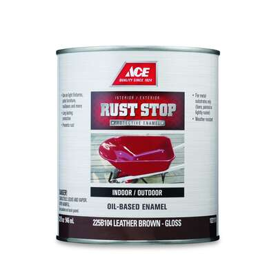 Ace  Rust Stop  Indoor/Outdoor  Gloss  Leather Brown  Oil-Based Enamel  Rust Preventative Paint  1 q