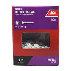 Ace  No. 7   x 1/2 in. L Hex/Slotted  Hex Washer Head Zinc-Plated  Steel  Gutter Screws  1 lb.