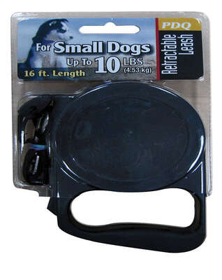 PDQ  Black  Retractable Lead  Cotton/Nylon  Dog  Retractable Leash  Small