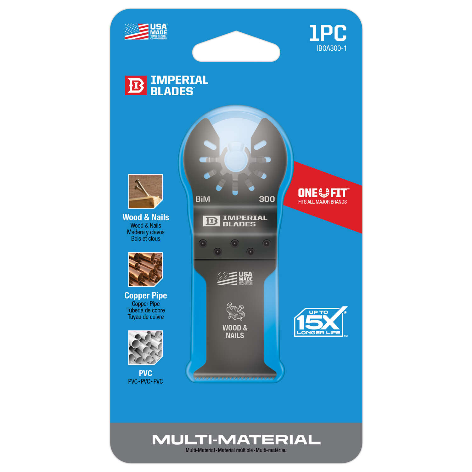 Imperial Blades One Fit 3-5/8 in. L x 1-3/8 in. Dia. Bi-Metal Oscillating Saw Blade 1 pk