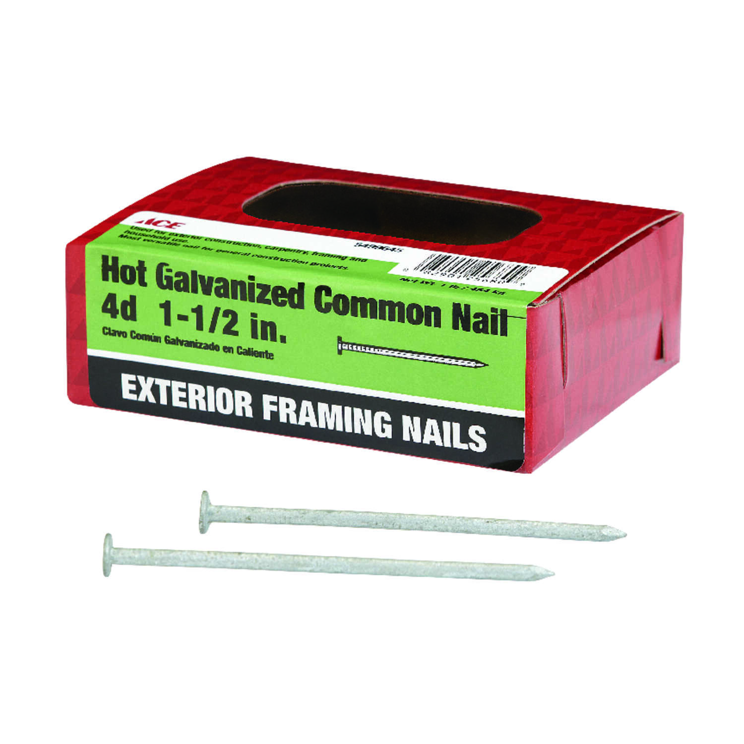 Ace  4D  1-1/2 in. L Common  Steel  Nail  Flat Head Smooth Shank  1  1 lb.
