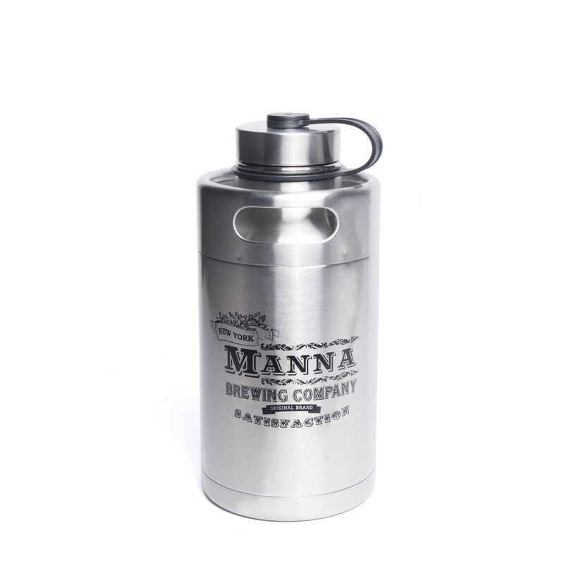 Manna  Silver  Stainless Steel  Manna Brewing Co.  Insulated Bottle  BPA Free 64 oz.