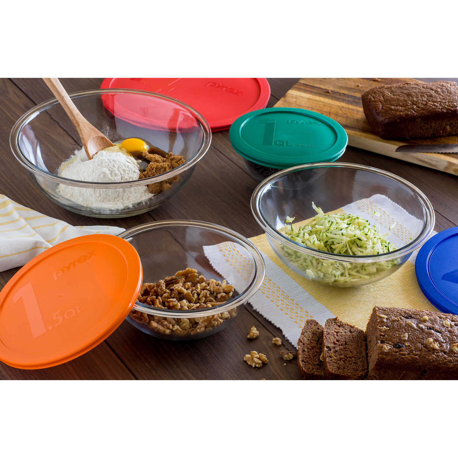 Pyrex  Smart essentials  1, 1.5, 2.5, 4  Glass  Assorted  Mixing Bowl Set  8 pc.