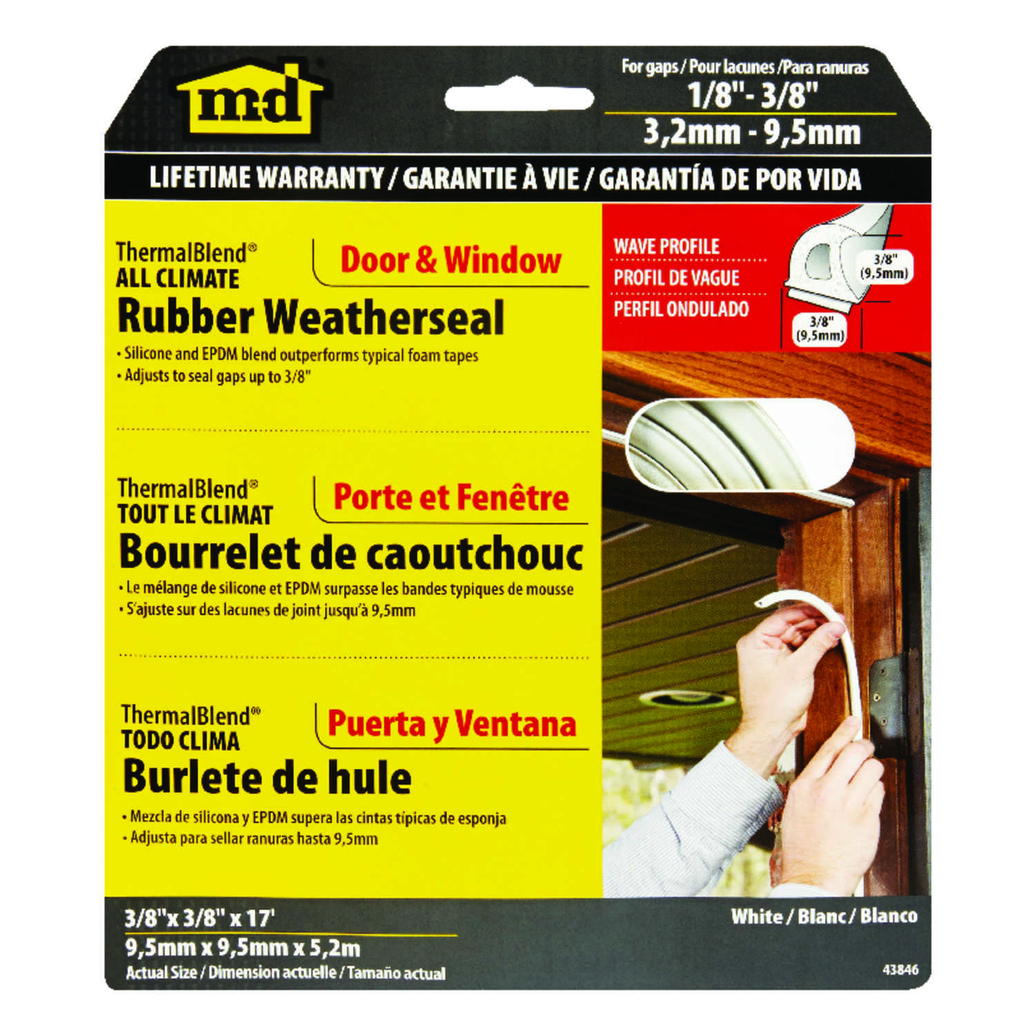 M-D Building Products  White  Rubber  17 ft. L x 3/8 in.  Weather Stripping  For Window