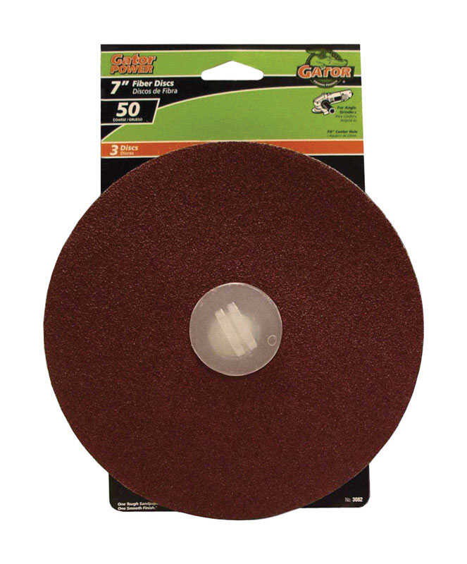 Gator  7 in. Center Mount  Fiber Disc  Coarse  50 Grit Aluminum Oxide  3 pk