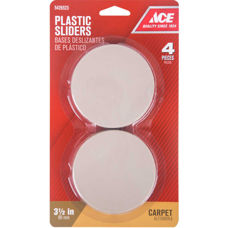 Ace  Plastic  Slide Glide  Brown  Round  3-1/2 in. W 4 pk Self Adhesive