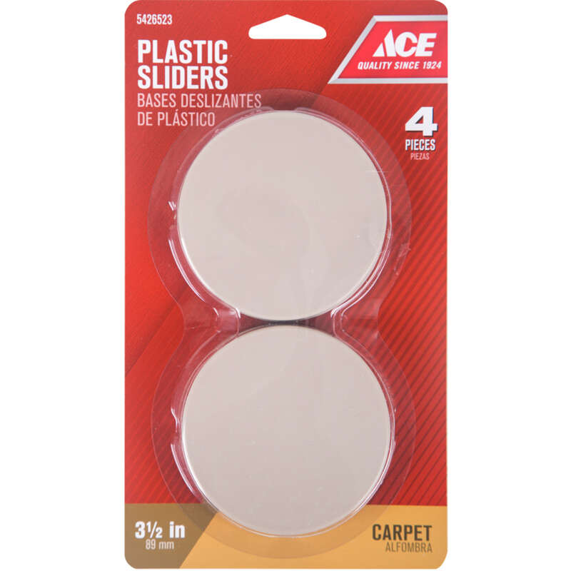 Ace  Plastic  Self Adhesive Slide Glide  Brown  Round  3-1/2 in. W 4 pk