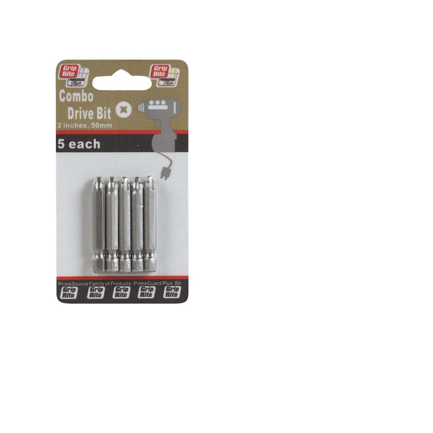 Grip-Rite  Phillips/Square  2 in. L Combo  Power Bit Set  Steel  5 pc.