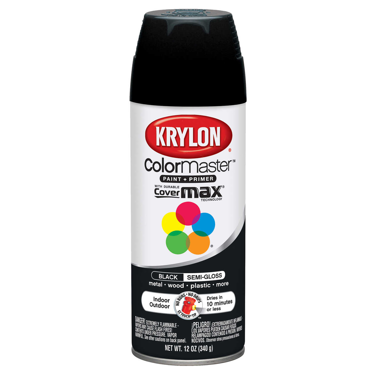 Krylon  ColorMaster  Semi-Gloss  Black  12 oz. Spray Paint