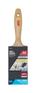 Ace  Premium  2-1/2 in. W Medium Stiff  Flat  Paint Brush