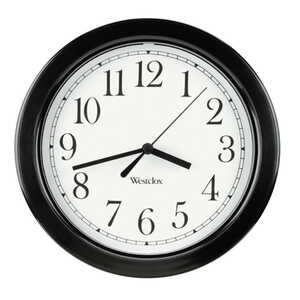 Westclox  8-1/2 in. L x 8-1/2 in. W Analog  Wall Clock  Indoor  Black/White  Plastic