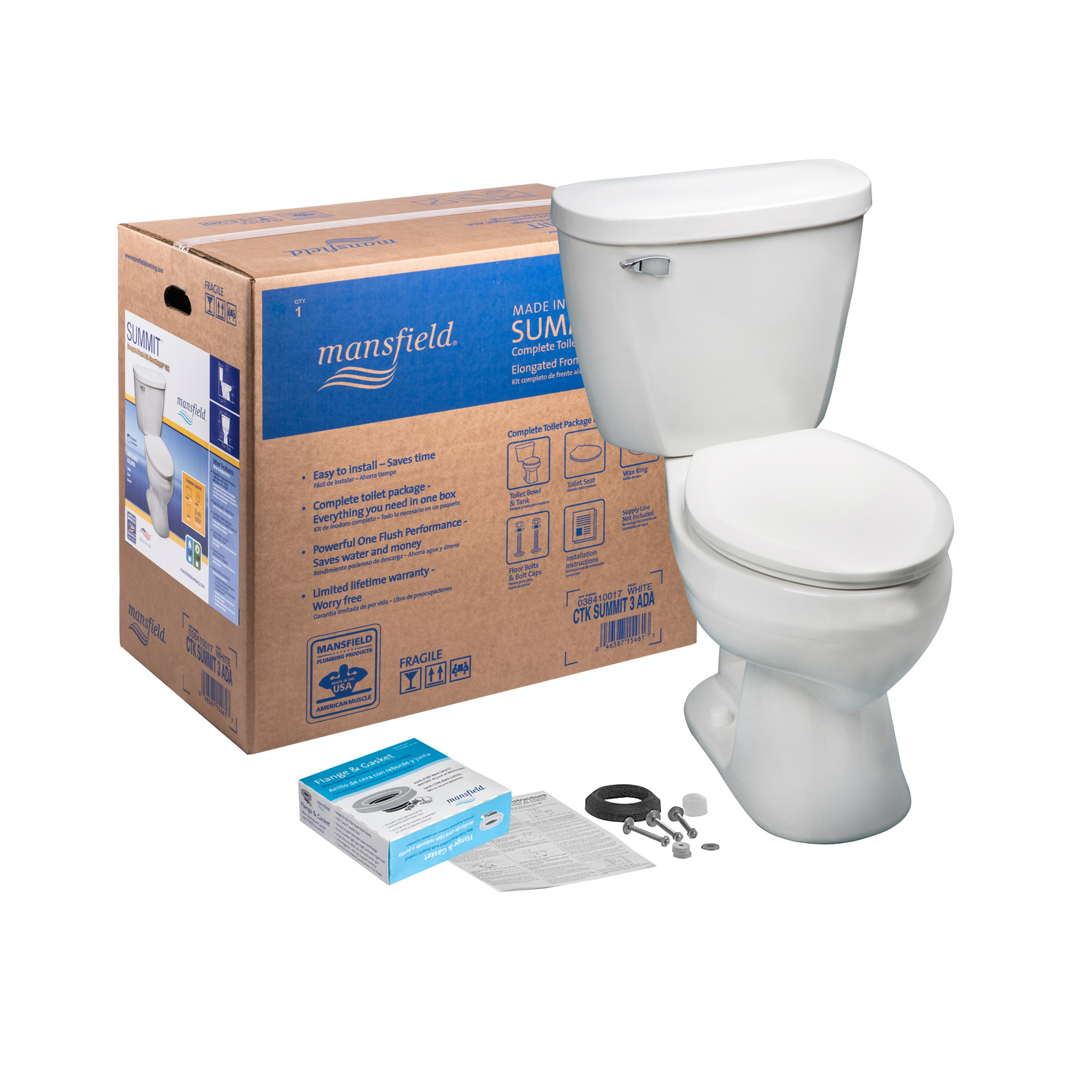 Mansfield  Summit  Elongated  Complete Toilet  1.28 gal. ADA Compliant White