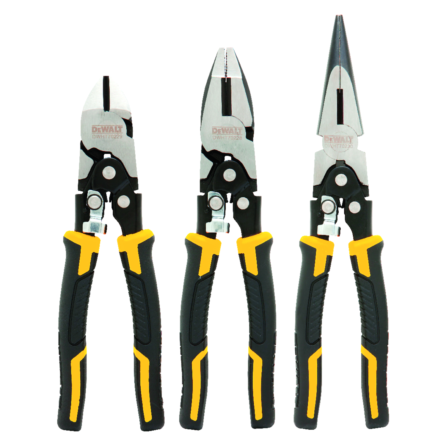 DeWalt  Chrome Vanadium Steel  Pliers Set  Yellow  Assorted in. L 3 pk