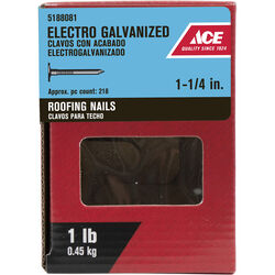Ace 1-1/4 in. Roofing Electro-Galvanized Steel Nail Large 1 lb.