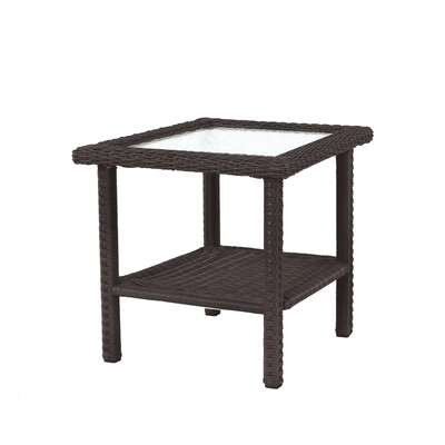 Living Accents Prescott Square Brown Glass Side Table