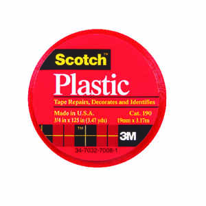 Scotch  Red  125 in. L x 3/4 in. W Plastic Tape