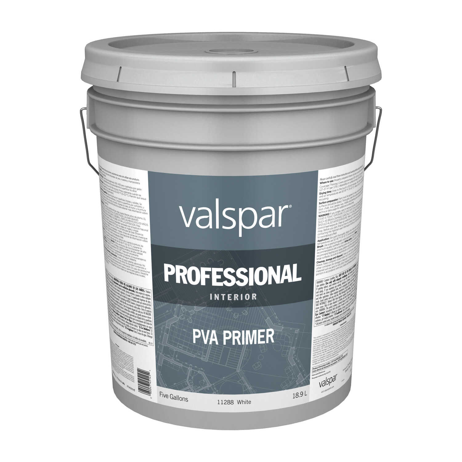 Valspar  Prep-Step  Basic White  White Base  Latex  Primer  5 gal.