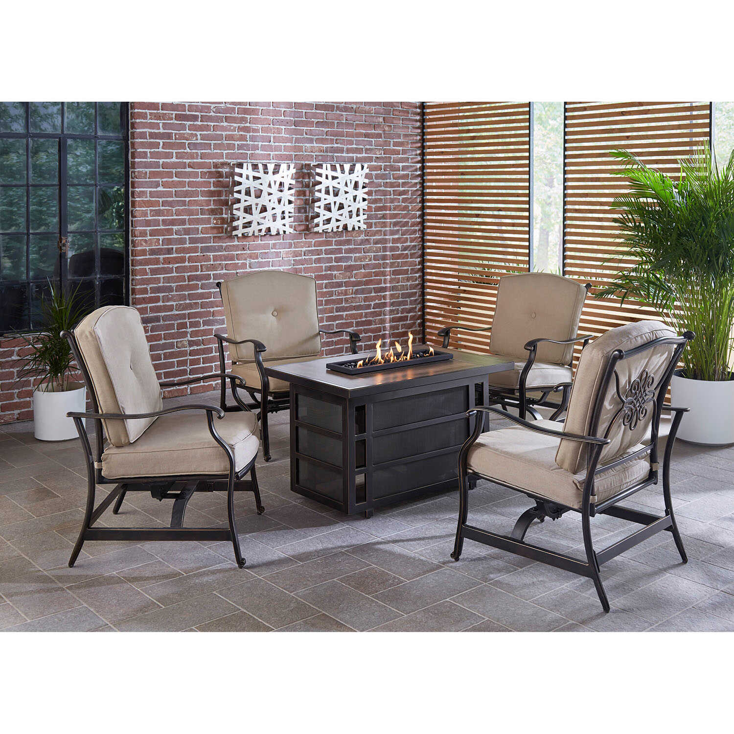 Hanover  Traditions  5 pc. Bronze  Aluminum  Firepit Set  Tan