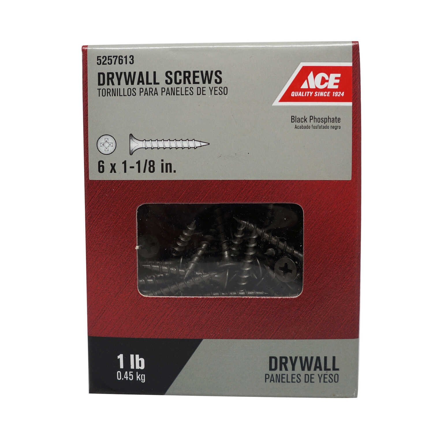 Ace  No. 6   x 1-1/8 in. L Phillips  Bugle Head Black Phosphate  Steel  Drywall Screws  1 lb. 309 pk
