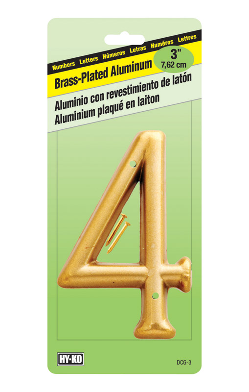 Hy-Ko  3 in. Brass Plated  4  Number  Nail-On  Aluminum